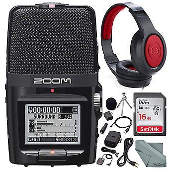 Zooma h2n händig bärbar digital ljudinspelare med samson stereo hörlurar och tillbehör bunt