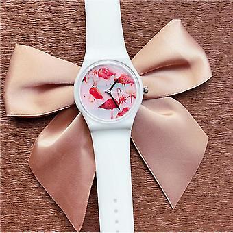 DF-0308 Flamingo damer armbandsur silikon rem kvarts movement watch