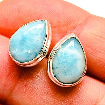 """Larimar Earrings 5/8"""" (925 Sterling Silver)  - Handmade Boho Vintage Jewelry EARR408104"""