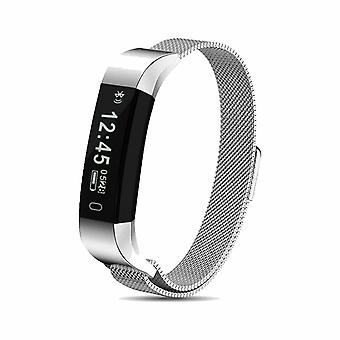 AQ115 HR Fitness Tracker with Milanese Strap Silver