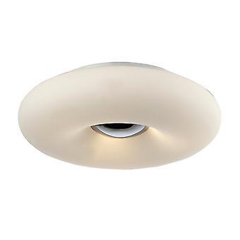 Modern Flush Ceiling Light Chrome 3 Licht met witte, bevroren schaduw, E27