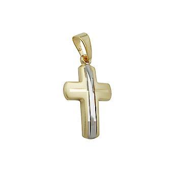 Pendant Cross Bicoloured 9k Gold