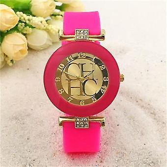 New Simple Leather Brand Geneva Casual Quartz Watch, Women Crystal Silicone