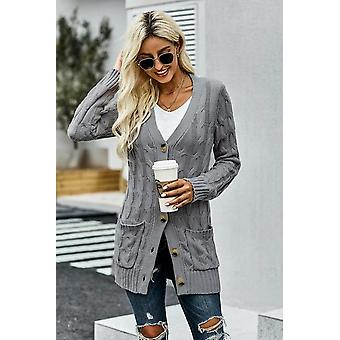 Button Pocket Winter Knit Cardigan