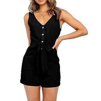 Vrouwen Sexy V Neck Sleeveless Button Cotton Playsuits Casual Slim Pocket