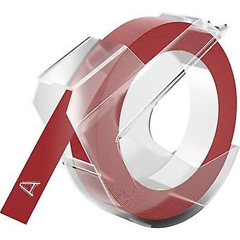 DYMO 3D Tape colour: Red Font colour: White 9 mm 3 m