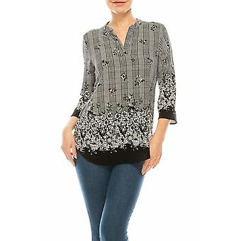 Plaid & Floral Printed Top With Hems
