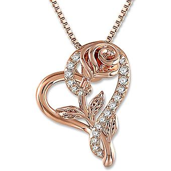 SNZM Love Heart Pendant Necklace Rose Flower Jewelry for Women