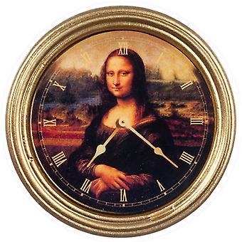 Nuket Talo Mona Lisa Seinäkello Pyöreä Kultakehys Miniatyyri 1:12 Lisävaruste