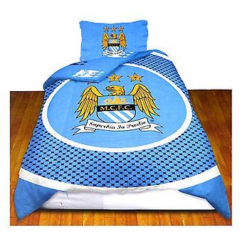 Manchester City FC Official Bullseye Reversible Duvet Cover Bedding Set
