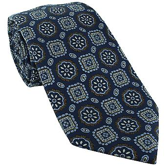 Michelsons of London Classic Medallion Silk Tie - Blu