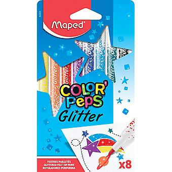 Maped color'peps glitter felt tip pens (pack of 8) colouring felt pens x12 glitter felt pens