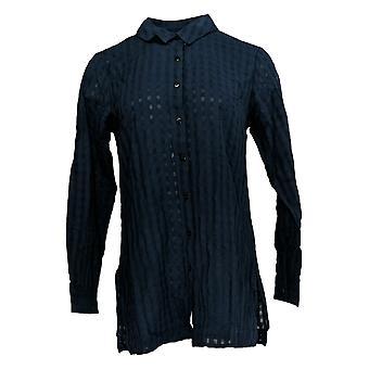 Joan Rivers Women's Top (XXS) Shadow Check Button Up Shirt Blue A379958