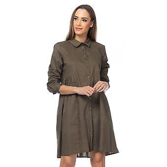 Overdimensjonert skjorte kjole med plisser i midjen