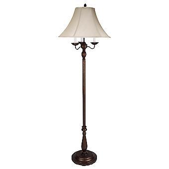 Lámpara de pie de metal con interruptor de 6 vías y sombra de tela, blanco y bronce