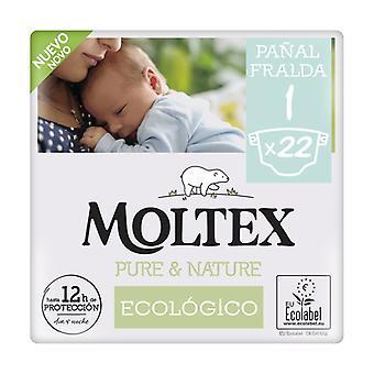 Diapers Moltex Pure & Nature T1 (2-5 kg) 22 units