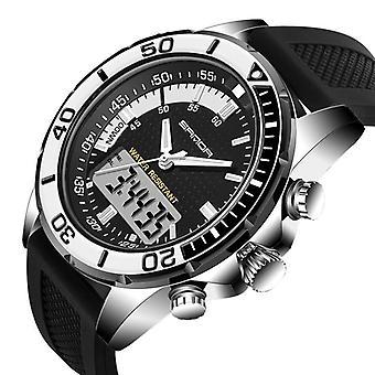 SANDA 003 Fashion Men LED Dual Display Watch Silicone Strap Swimming Diving Spo