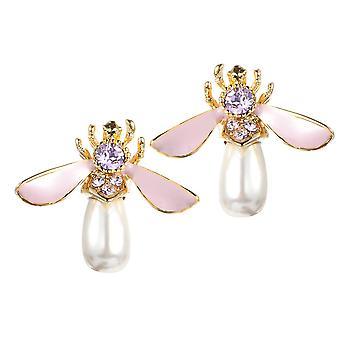 Cute Bees Ear Stud Luxury Gold Plated Gemstone Pearl Earring Jewelry for Women