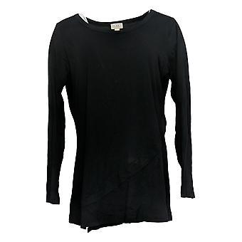 LOGO By Lori Goldstein Women's Top Cotton Modal Asymmetric Hem Black A38679