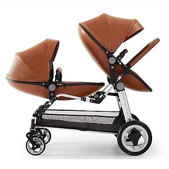 Babyfond Leather Egg Shell Twins Stroller, Baby Pram Two Bassinets