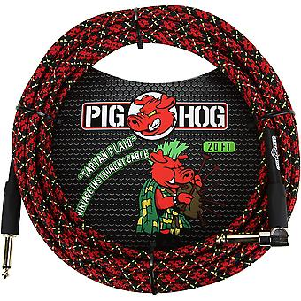 "Pig hog pch20plr right-angle 1/4"" to 1/4"" tartan plaid guitar instrument cable, 20 feet"