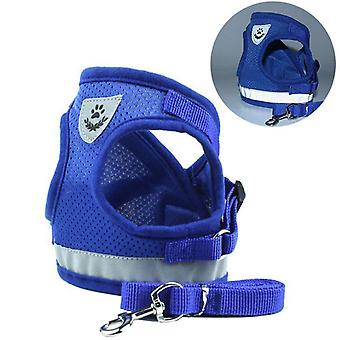 Dog harness with leash and reflector