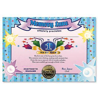 Certificado de niño de 1 año (niño) (pack de 6)