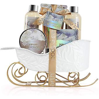 BODY & EARTH Spa Gift Sets - Bath Sets with Jasmine & Honey Scent, Includes Bubble Bath,