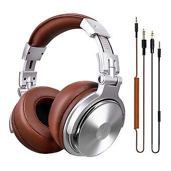 """אוזניות OneOdio Pro Studio עם חיבור AUX בגודל 6.35 מ""""מ ו-3.5 מ""""מ - אוזניות עם אוזניות DJ מיקרופון כסף"""