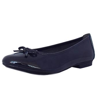 Jana Assistance Casual Wide Fit Ballet Pumps In Navy Patent