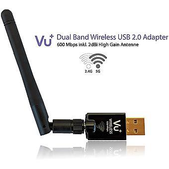 VU+ Dual Band Wireless USB 2.0 Adapter 600 Mbit/s inkl. Antenne
