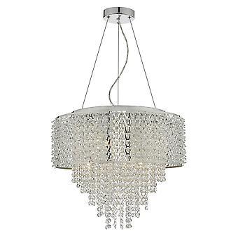 DAR ACELYNN Hanglamp Gepolijst Chroom & Kristal, 6x G9