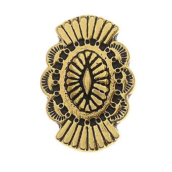 TierraCast Zinnknopf, Oval mit Southwestern Design 20x13,5mm, 1 Stück, antik vergoldet
