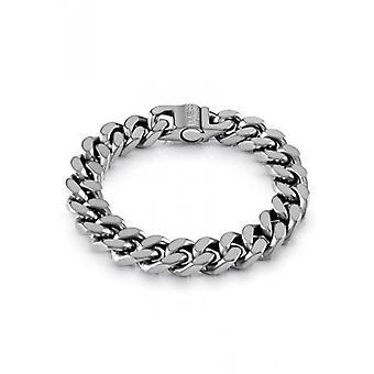 HYPE Guess Bijoux  - Bracelet acier argent� vieilli maille coup�e quatre cot�s larg. 12 mm
