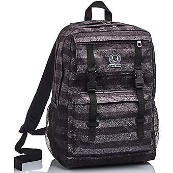 Duffy Invicta backpack, Stripes, Grey, Double Compartment, School & Leisure