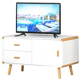HOMCOM Modern TV Stand for TVs up to 45'' Flat Screen with Bamboo Legs, TV Console Cabinet with Drawers and Cupboard, Cable Hole, Home Entertainment Center, Living Room Bedroom and Office, White