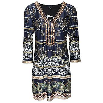 K-design Chain Print Long Sleeve Dress