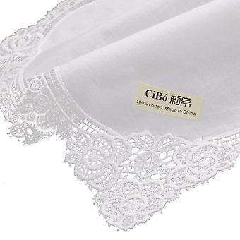 White Premium Cotton Lace Handkerchiefs