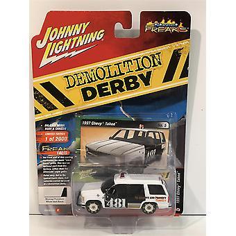 1997 Chevy Tahoe Demolition Derby White Black 1:64 Johnny Lighting JLSF015B