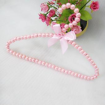 Pearl Bow Tie Decoration Children Clothes Rack Abs Plastic Hanger Bead Hanger
