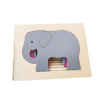 Drevené zvieracie hádanky pre batoľatá, vzdelávacie hračky darček s jasnými žiarivými farebnými tvarmi (GROUP4)