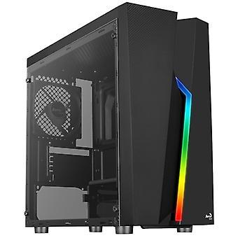 Aerocool Bolt Mini Micro Tower 1 x USB 3.0 / 2 x USB 2.0 Härdat glas sidofönsterpanel svart fodral med RGB LED-belysning