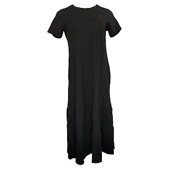 LOGO af Lori Goldstein Dress Bomuld Modal Differentieret Midi Dress Black A378828