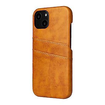 Para iPhone 13 mini Funda Deluxe Cartera de cuero Cubierta trasera Cubierta delgada Amarillo