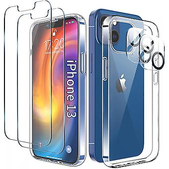 Screen Protector For Iphone 13/5packs-2 Tempered Glass Screen Protector, 2 Camera Lens Protector And Phone Case