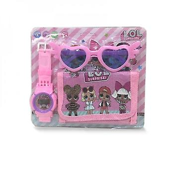 Children's Package Electronic Watch Anime Doll Character Doll Glasses Wallet Wallet Set