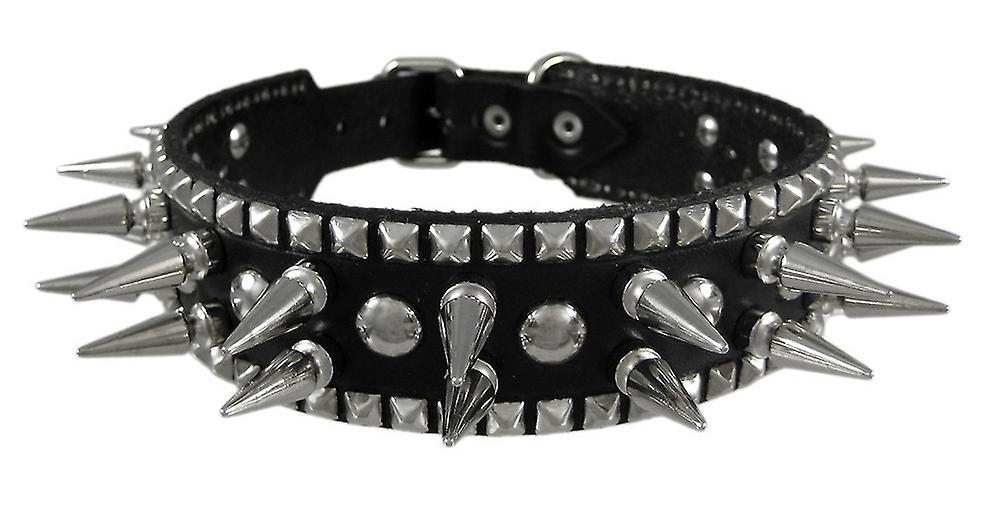 Genuine Leather Dog Collar with 1 inch Spikes