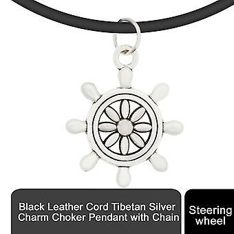 Svart läder sladd tibetansk silver charm choker hänge medChain, ratt