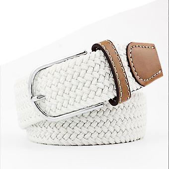 Unisexe casual tricoté boucle à goupille tissé ceinture élastique 110 cm (110cm) (Blanc)