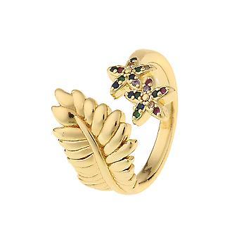 Nuovi gioielli di moda Fiore di rame Fiore Stella a cinque punte Anello Aperto Signore Oro Placcato 18k Gioielli in oro